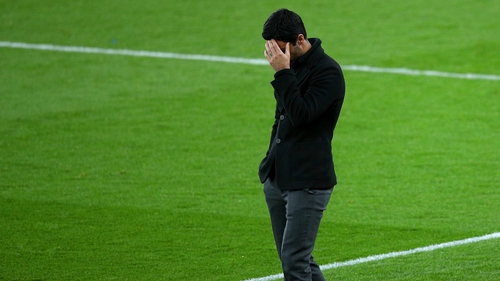 Mikel Arteta casts a dejected figure at the Emirates