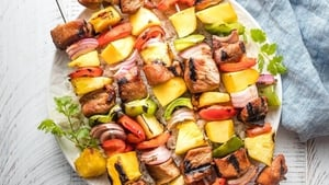 Nevens Recipes - Sticky Pork and Pineapple Skewers with Mango Salsa