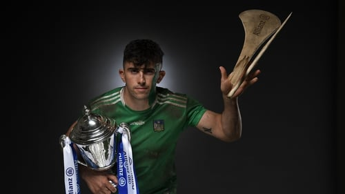 Aaron Gillane with his hands on the Allianz league trophy. Will the Treaty men make it three-in-a-row in 2021?