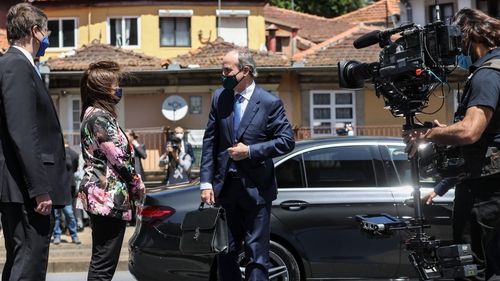Taoiseach Micheál Martin arriving at the EU Social Summit in Porto earlier today