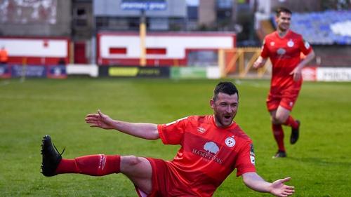 Ryan Brennan celebrates his goal