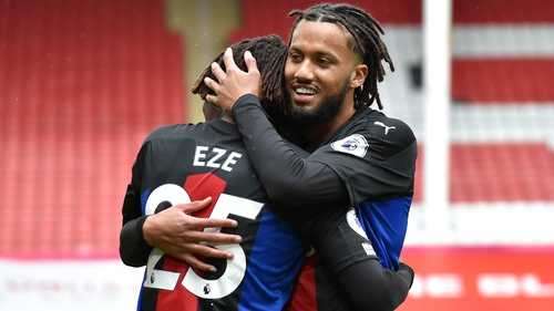 Eberechi Eze celebrates with Crystal Palace team-mate Jairo Riedewald