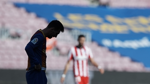 Leo Messi reacts during the goalless draw with Atletico