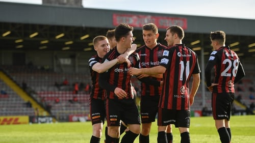 Bohemians' players celebrating Ali Coote's opening goal in their win over Finn Harps