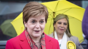 Nicola Sturgeon outside the Scottish Parliamentary Elections at the Emirates Arena, Glasgow today