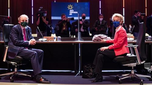 Micheál Martin and Ursula Von der Leyen at the EU summit in Porto today