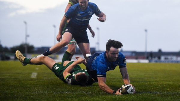 Hugo Keenan touches down for Leinster's seventh try