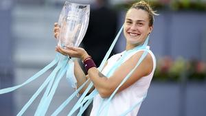 Aryna Sabalenka celebrates at Madrid's Magic Box arena