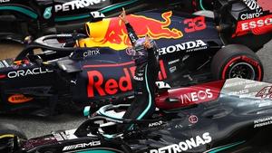 Lewis Hamilton celebrating victory in parc ferme