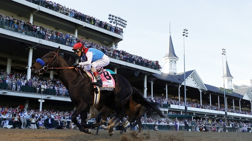 Medina Spirit crossing the finish line to win the 147th running of the Kentucky Derby