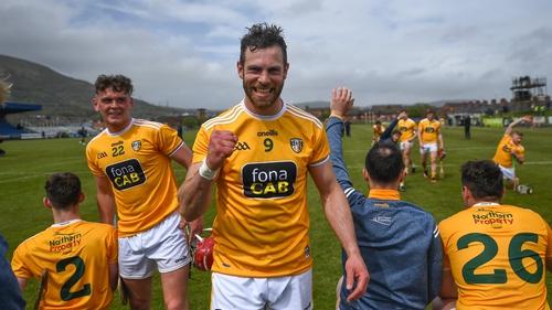 Neil McManus celebrates the win at Corrigan Park