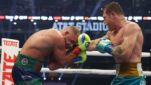 Canelo Alvarez punches Billy Joe Saunders during Saturday's fight