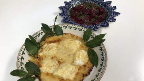 Rory's gratin of cod or haddock with cheddar cheese and mustard