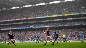 Galway and Dublin battling it out during the 2019 TG4 All-Ireland final at Croke Park