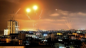 Rockets fired towards Israel from Gaza are intercepted by Israel's Iron Dome Aerial Defence System