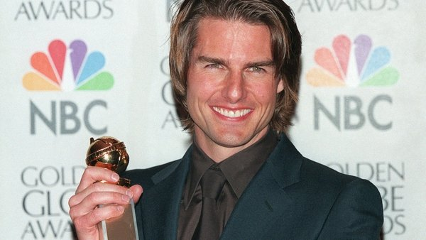 Tom Cruise with his Best Supporting Actor Golden Globe for Magnolia in January 2000
