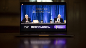 Berkshire Hathaway's Warren Buffett and Charlie Munger at the company's virtual AGM earlier this month. Photo: Daniel Acker/Bloomberg via Getty Images