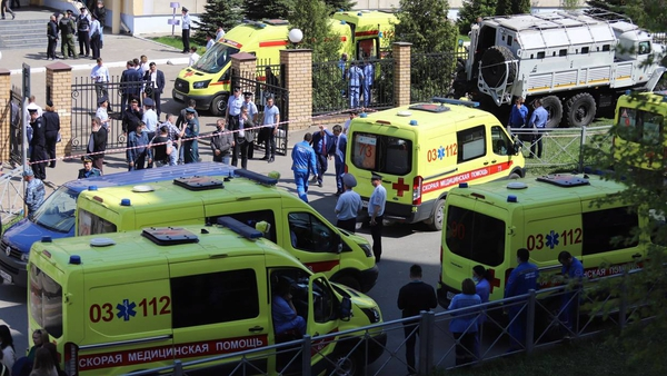 Emergency and security services at the scene in Kazan