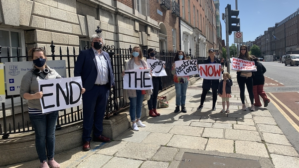 The protests are taking place in Dublin, Louth and Donegal this afternoon