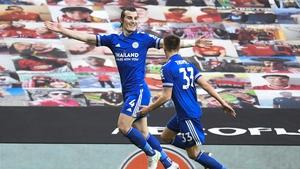 Caglar Soyuncu celebrates his goal at Old Trafford