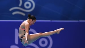 Clare Cryan competes in the final of the Women's 1m Springboard Diving event
