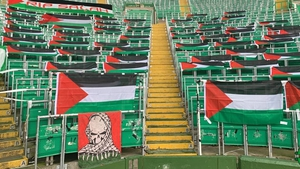 Palestinian flags were briefly hung on seats at Celtic Park today. Pic: @NCCeltic