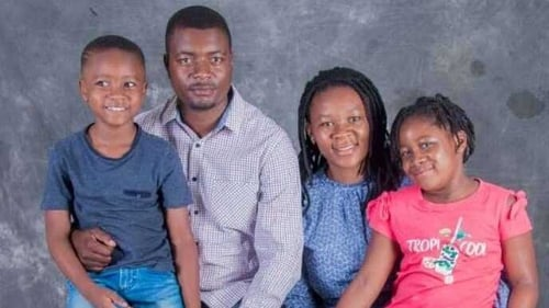 Pamela Chiwara with her husband and two children, who want to join her in Ireland