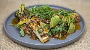 Mags Roche's spicy spatchcock style chicken salad, charred sweetcorn and avocado, shallot and herb dressing.
