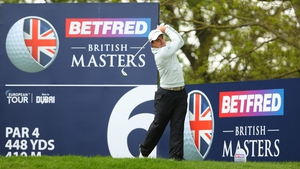 Paul Dunne tees off on the sixth hole during his second round at the Belfry