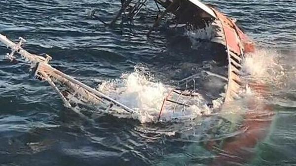 The vessel sank despite efforts to fight the fire (pic: Vessel Maersk Maker/ Irish Coast Guard)