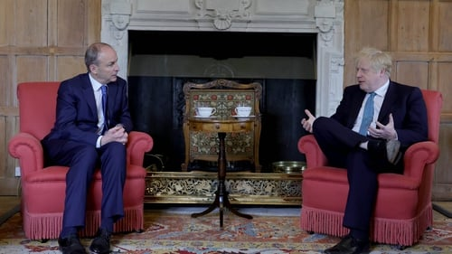 Micheál Martin and Boris Johnson in Chequers today