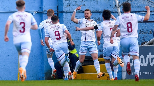 Dane Massey celebrates Drogheda's opening goal of the game