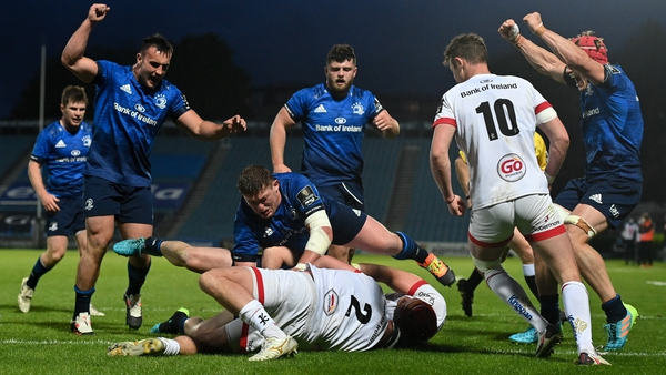 Leinster celebrate their third try of the evening