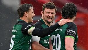 (L to R): John Porch, Eoghan Masterson and Sean Masterson celebrate Connacht's win
