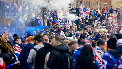 Thousands of Rangers fans have gathered at Ibrox