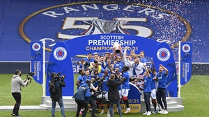 Rangers celebrate their title win at Ibrox