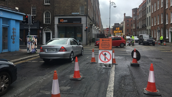 A new traffic system is being tested near Merrion Row in Dublin