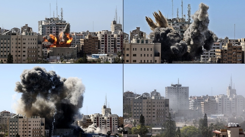 Pictures showing the Jala Tower in Gaza city being hit by an Israeli air strike and collapsing