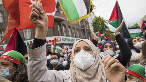 Protesters demonstrate for the rights of Palestinians in Berlin, Germany