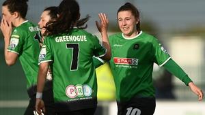 Eleanor Ryan-Doyle celebrates a goal with her Peamount United team-mates
