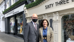 Jim and Majella McLoughney outside their shops in Nenagh