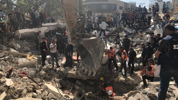 Damage in Gaza neighbourhood where Fady Hanona was living with his family