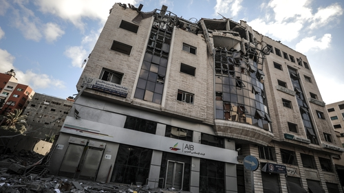 Israeli airstrikes hit the HQ of the Qatari Red Crescent Society in Gaza City today