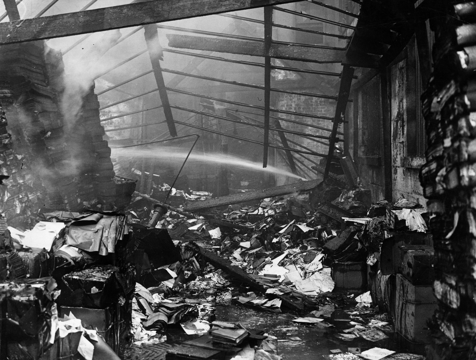 Image - The interior, destroyed in the fire, then soaked in water. Credit: Getty Images.