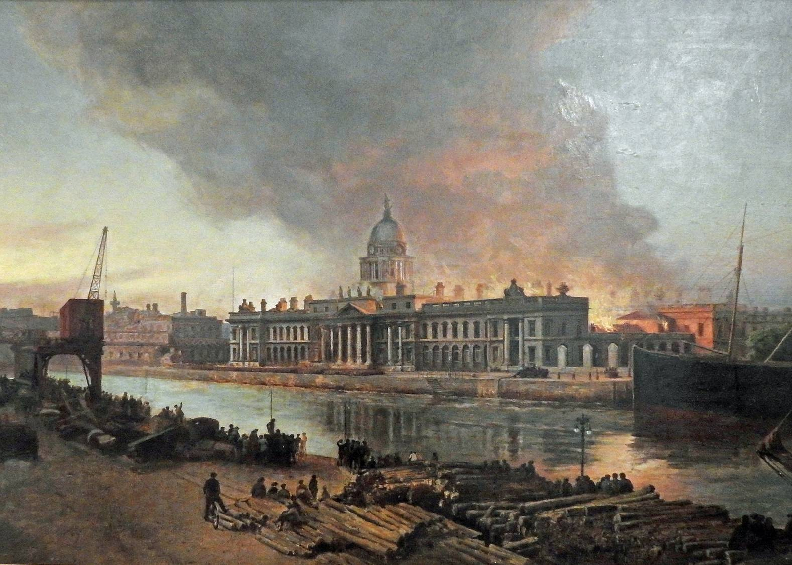 Image - A painting of the fire as seen from the quay across the Liffey. Painted by Archibald McGoogan, 1921. Credit: Dublin Fire Brigade.