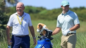 Gerry McIlroy joined his son during Tuesday's practice round