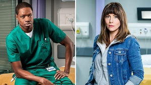 Osi Okerafor as locum registrar Matthew and Elinor Lawless as consultant Stevie Photos: BBC