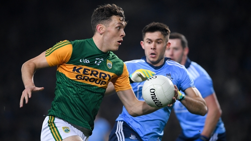 David Clifford and David Byrne in action during the least league meeting between Dublin and Kerry in January 2020