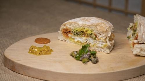 Kevin Aherne's fish sarnie with grilled lemon dressing & tartare garnish