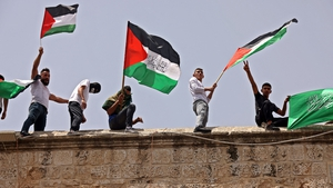 Protesters at the al-Aqsa mosque compound today